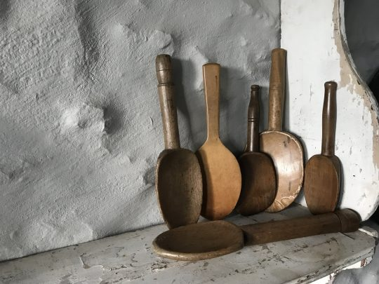 Collection of six French butter scoops