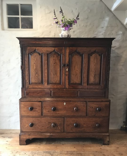 Small Welsh oak linen press Sold