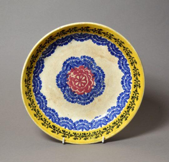 Large bright Scottish spongeware pottery dish Sold