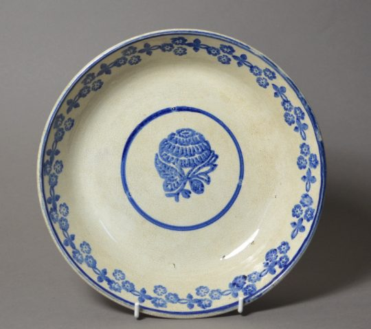 Large blue sponge decorated dish Sold