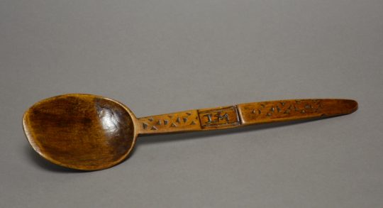 A chip carved and initialled Welsh sycamore spoon Sold
