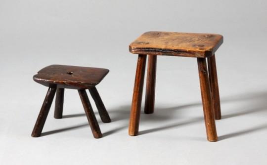 Two 19th century stools – Dwy stol o'r 19eg ganrif Sold