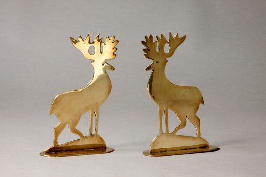 Pair of brass deer