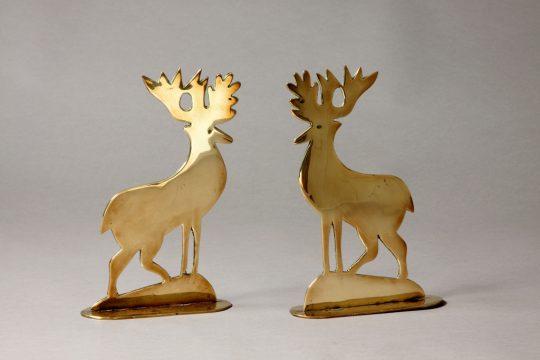 Pair of brass deer