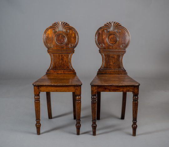 Pair of Carmarthen oak hall chairs