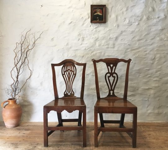 Two 18thC Welsh oak chairs