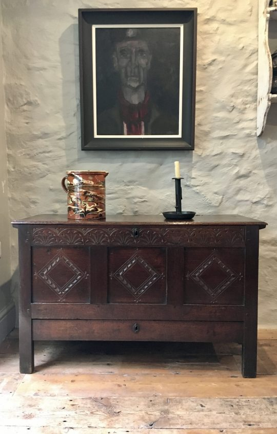 Small carved oak chest