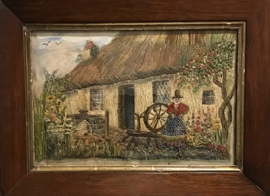 Welsh lady & cottage embroidery Sold