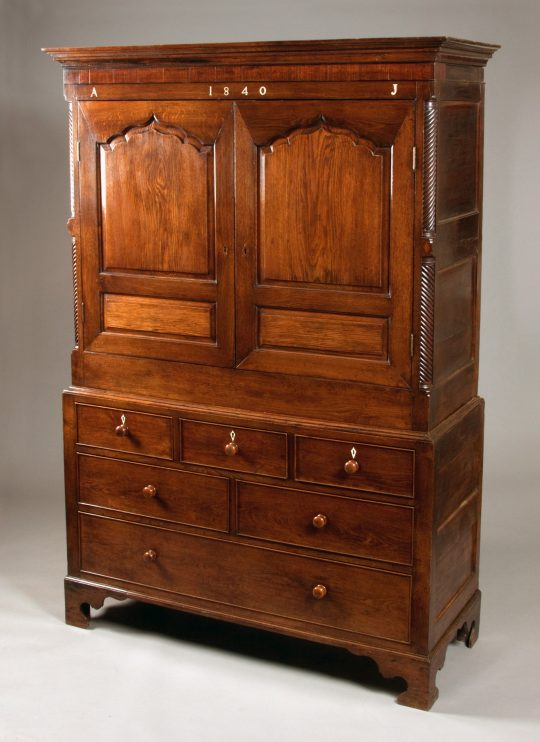 Wonderful dated Welsh oak linen press Sold