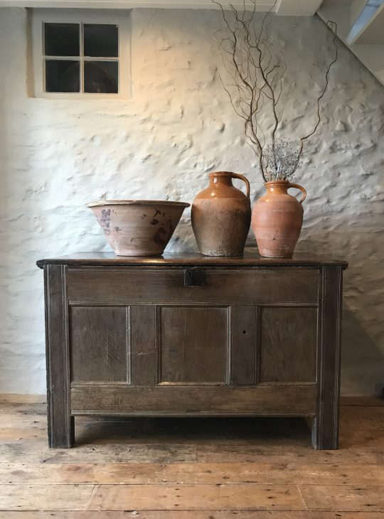 Massive 17th century Welsh oak grain chest