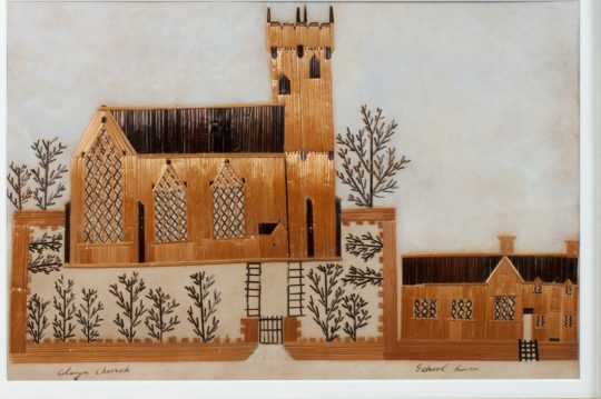 Rare Welsh folk art straw picture Sold