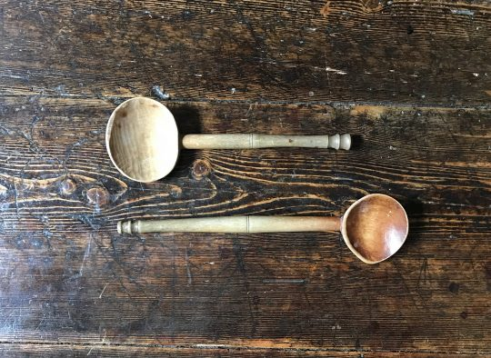 "Two Welsh sycamore ""cawl"" spoons Sold"