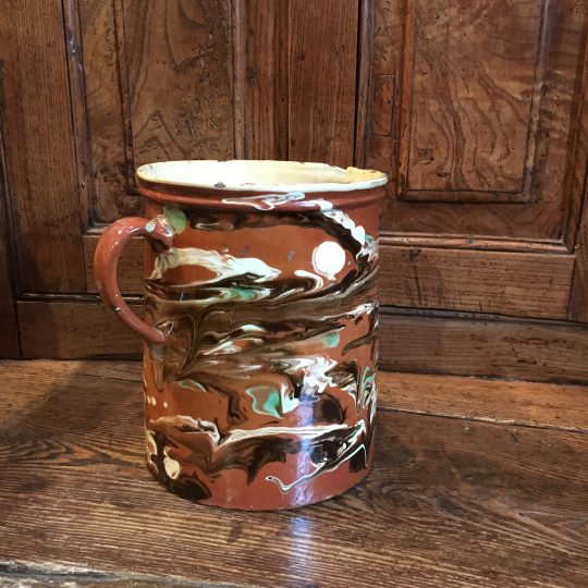 Large French marbled slipware jug Sold