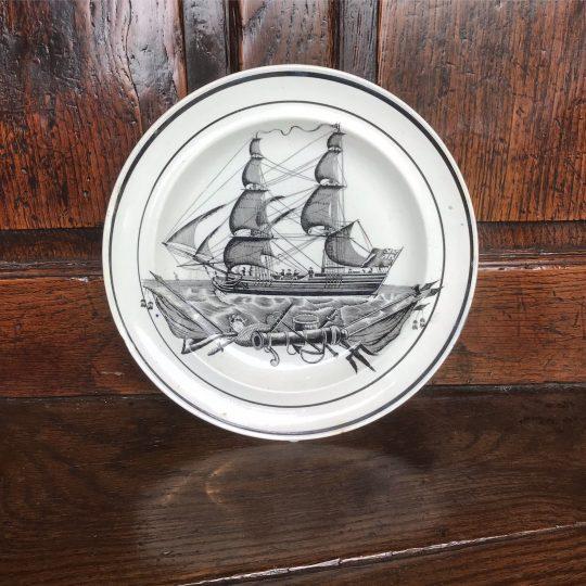 Swansea pottery Ship plate