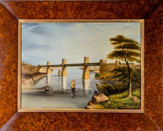 Victorian oil painting of the Britannia Bridge in North Wales (on hold)