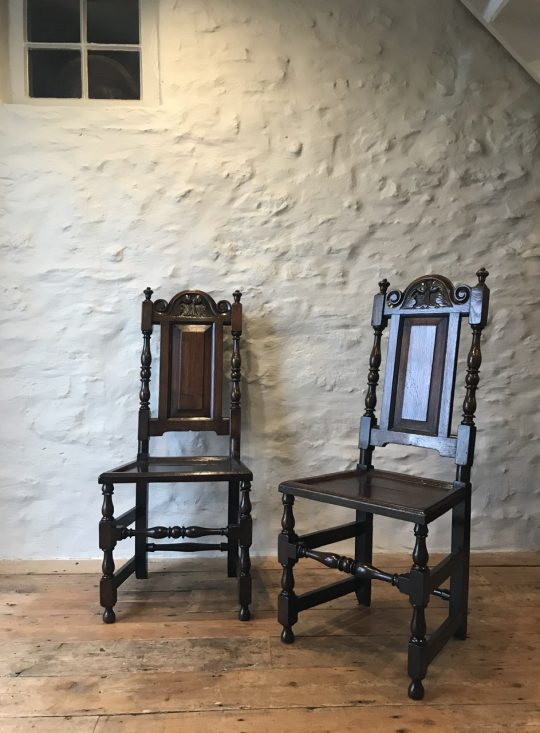 Pair of early 18thC Welsh oak chairs