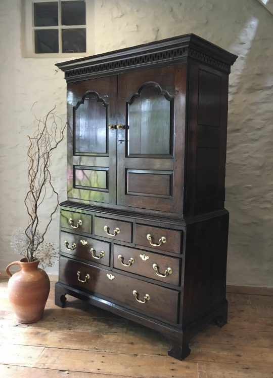 A wonderful & very small Welsh oak linen press