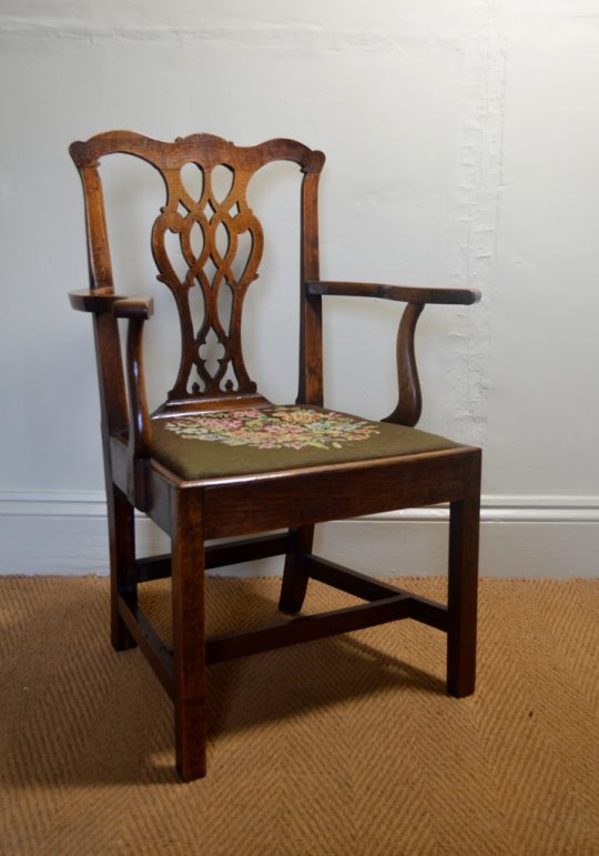 Georgian oak arm chair