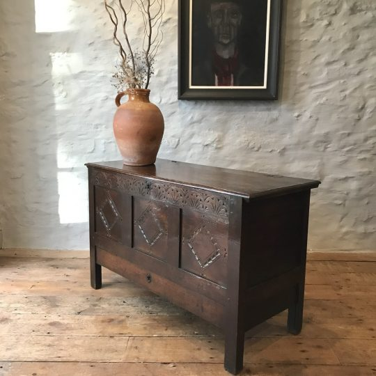 Small carved oak chest Sold