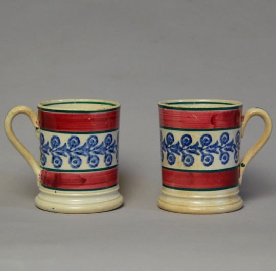 Pair of spongeware mugs Sold