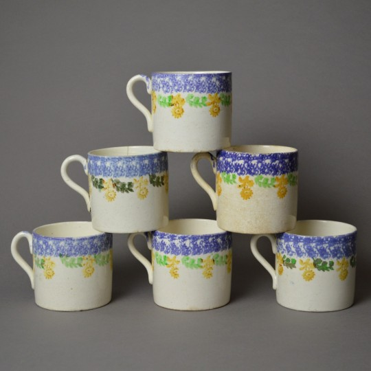 Welsh spongeware mugs