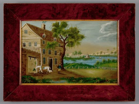 Pair of English folk art paintings