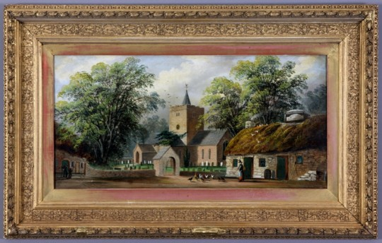 The Church & Black Lion at Llanbadarn Fawr, Nr Aberystwyth by Alfred Worthington Sold