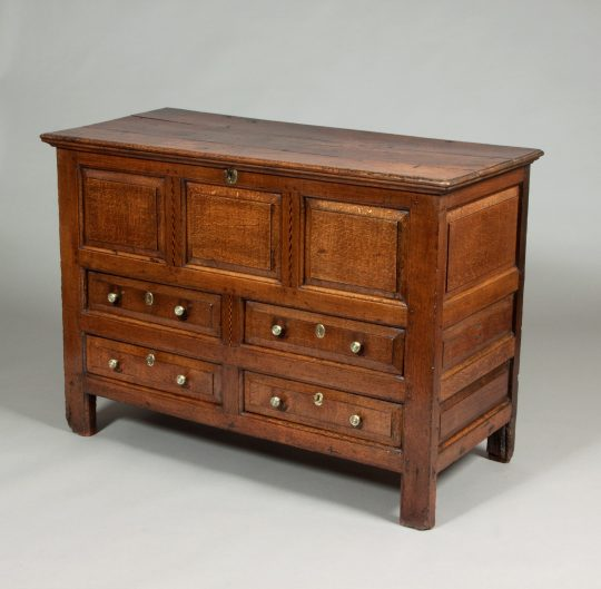 Welsh oak chest with drawers Sold