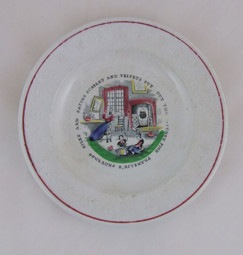 19th century child's plate with Franklins proverb