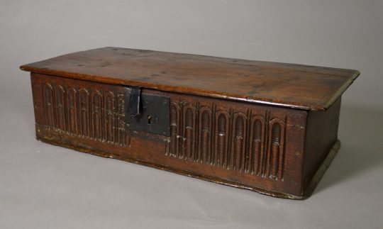 17th century carved oak table box (Bible box)