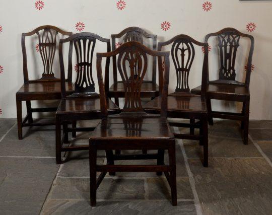 Set of six Carmarthenshire oak chairs