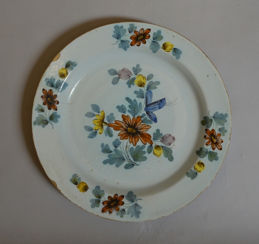 English delft polychrome charger Sold