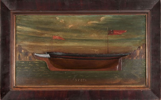 folk art ship diorama half ship model hull ship makers block