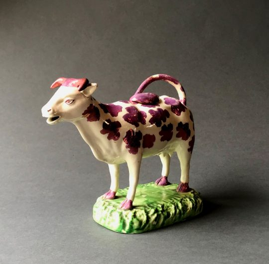 Swansea pottery pink lustre cow creamer Sold