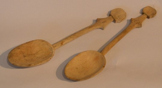 Two carved sycamore spoons. Sold