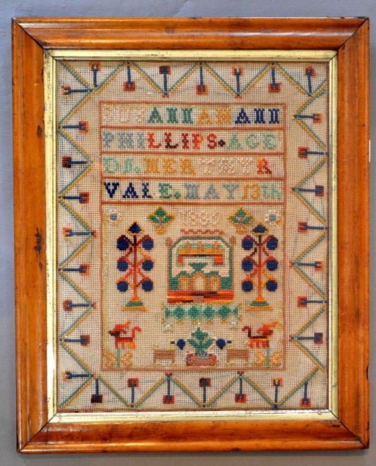 Welsh wool sampler in original frame