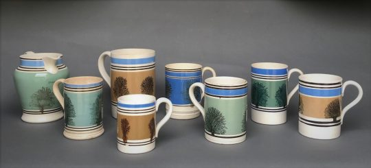 Collection of Mocha ware pottery Sold