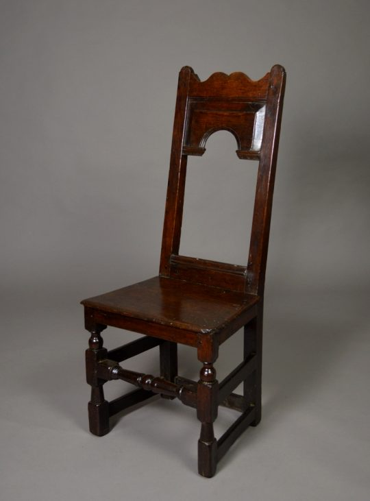 17th century oak back stool Sold