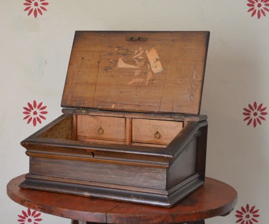 19th century painted pine writing slope