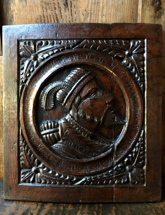 "Early 16th century English carved oak ""Romayne"" panel Sold"