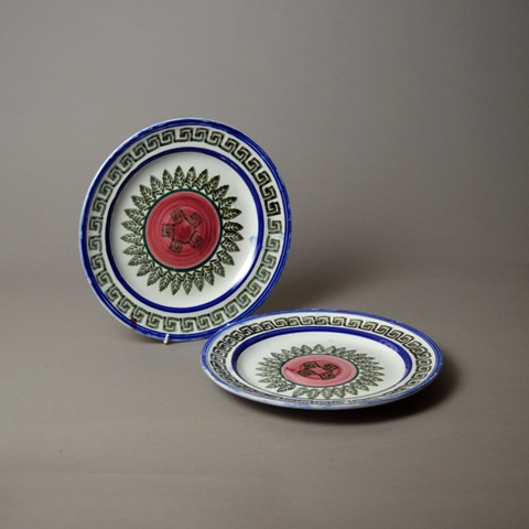 Pair of Victorian spongeware plates sold