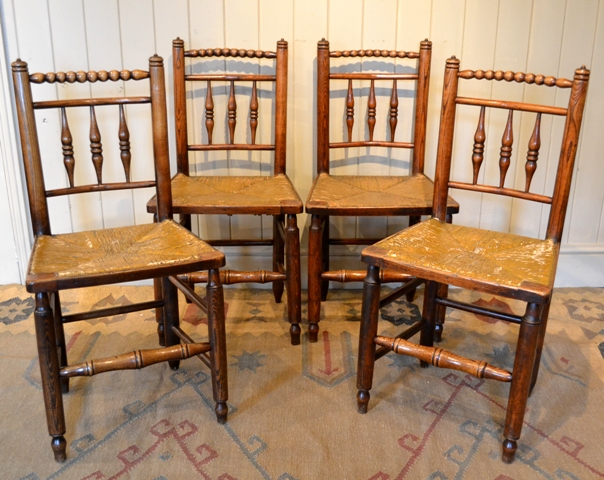 welsh chairs turners chair rush seat chairs welsh folk art - Tim Bowen Antiques, Carmarthenshire, Wales Set Of Four Chairs Sold