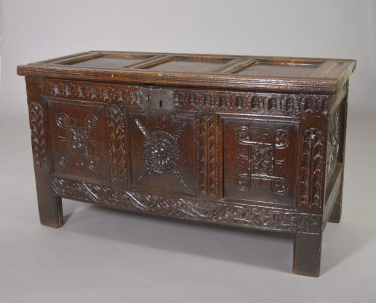 Small 17th century carved oak chest Sold