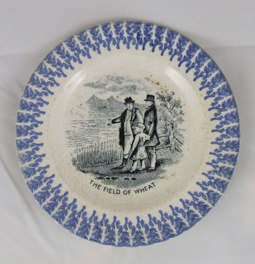 Child's plate with blue sponged border