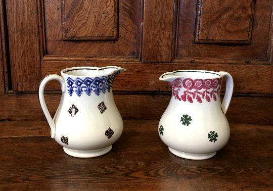 Pair of Spongeware pottery jugs