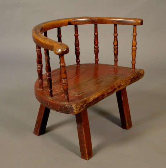 19th century ash and elm stick chair with original painted finish