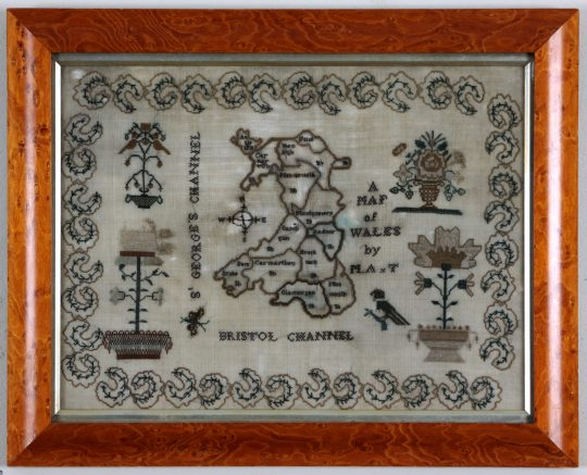 Sampler depicting a map of Wales Sold