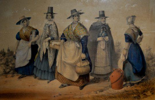 "19th century framed print ""Welsh Costume"" Sold"