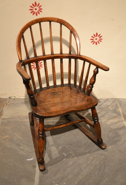 windsor rocking chair antique childs chair - Tim Bowen Antiques, Carmarthenshire, Wales Child's Windsor Rocking